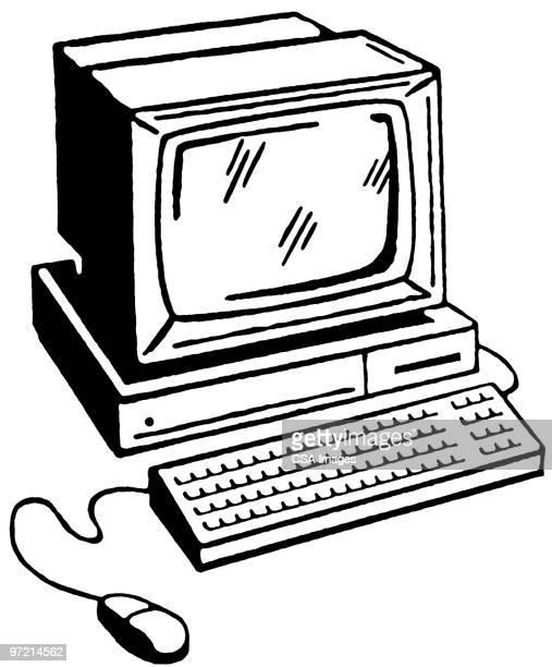 desktop computer - old fashioned stock illustrations