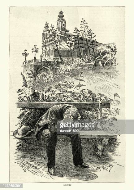 despair, the loser at a monte carlo casino, 19th century - monte carlo stock illustrations, clip art, cartoons, & icons