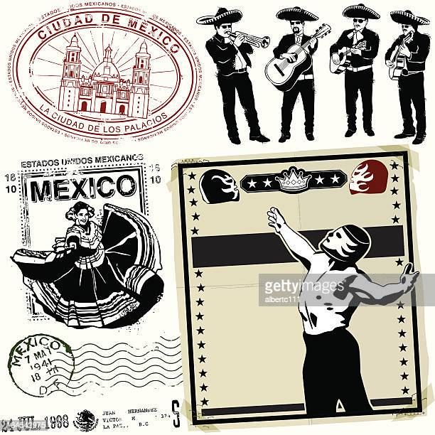destinacion ye olde mexico - sombrero stock illustrations