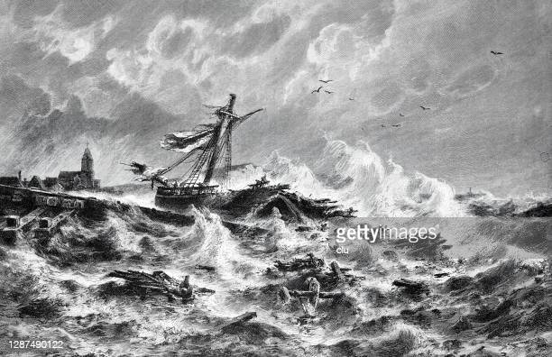 destroyed ship in heavy seas - ship wreck stock illustrations