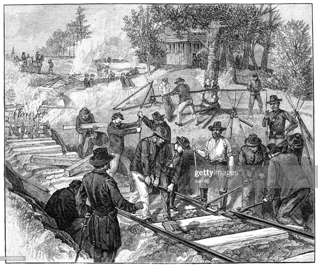 destroying railroad : stock illustration