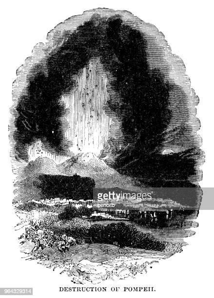 destruction of pompeii - mt vesuvius stock illustrations, clip art, cartoons, & icons