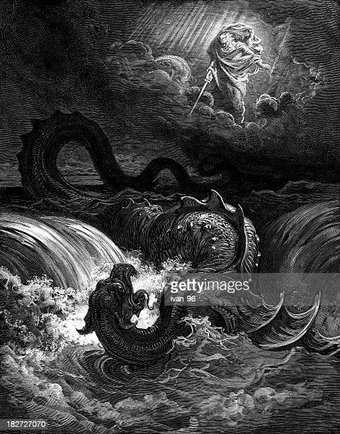 destruction of the leviathan - dragon stock illustrations