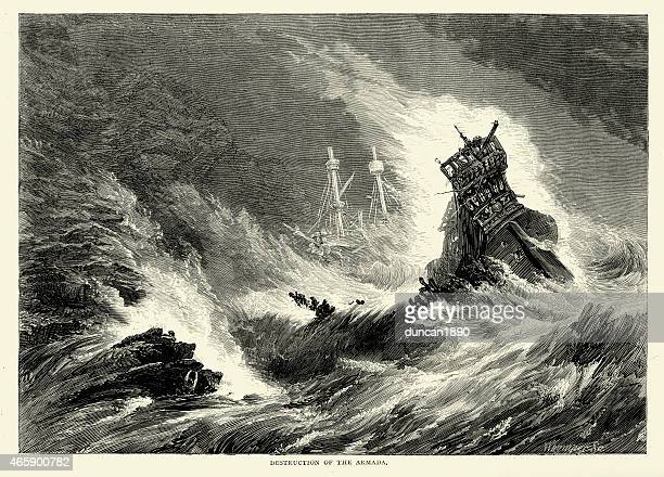 destruction of the spanish armada in a storm - sinking stock illustrations