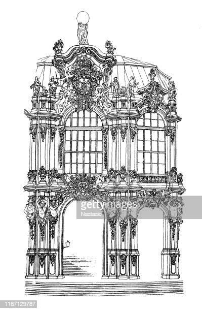 "detail aus dem ""zwinger""-pavillon in dresden - dresden stock-grafiken, -clipart, -cartoons und -symbole"