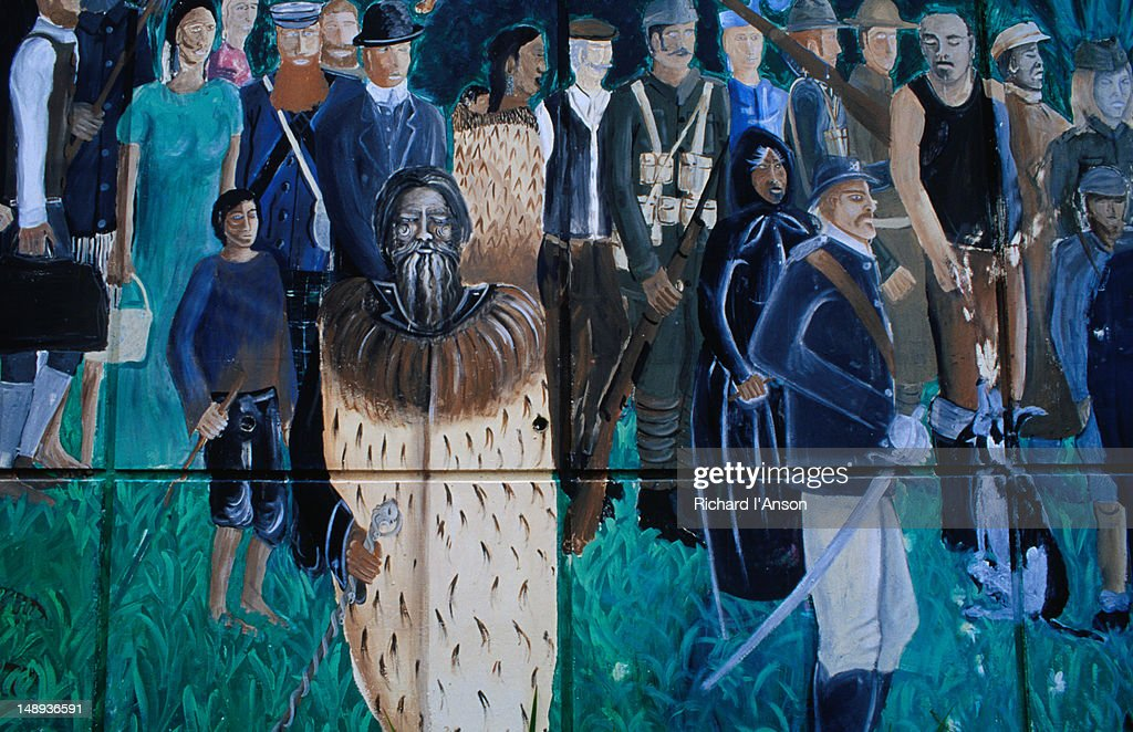 Detail of mural on town building. : Stock Illustration
