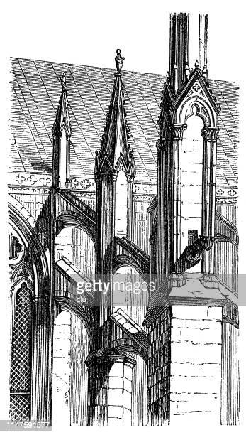 detail of the church in rouen, crags - rouen stock illustrations, clip art, cartoons, & icons