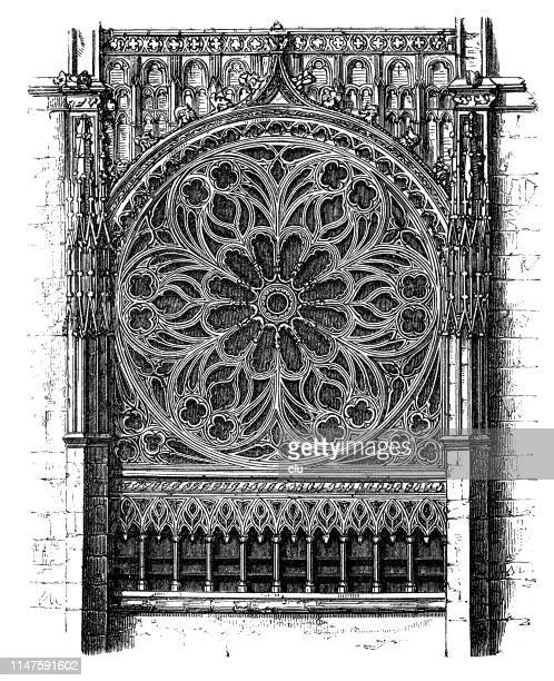 detail of the church in rouen, window rose - rouen stock illustrations, clip art, cartoons, & icons