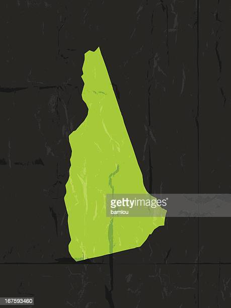 Detailed map of New Hampshire state grunge style
