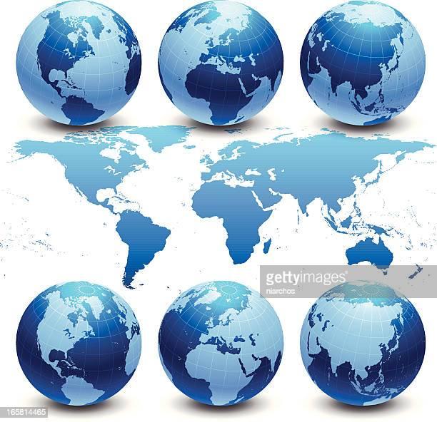 Detaillierte Weltkarte mit Globen