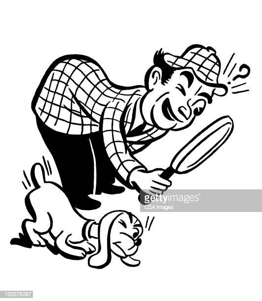 detective and dog - inspector stock illustrations, clip art, cartoons, & icons