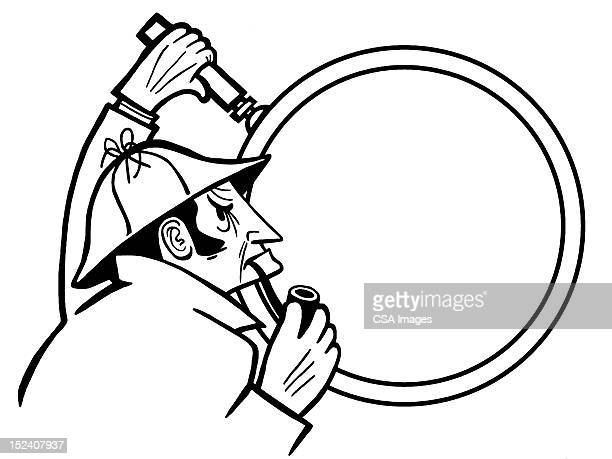 detective using magnifying glass - inspector stock illustrations, clip art, cartoons, & icons