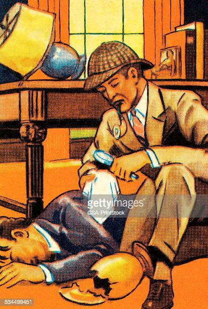 detective work - sherlock holmes stock illustrations