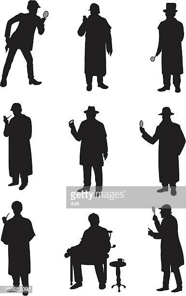 detectives in different poses - holding stock illustrations, clip art, cartoons, & icons