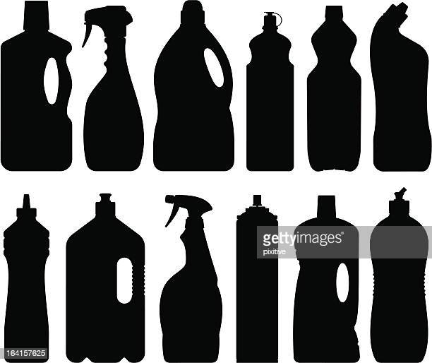 detergent bottles silhouettes - laundry detergent stock illustrations, clip art, cartoons, & icons