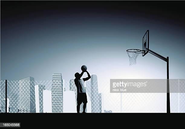 ilustraciones, imágenes clip art, dibujos animados e iconos de stock de la determinación - cancha de baloncesto