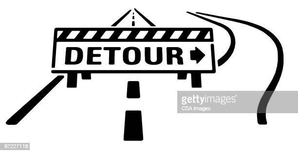 detour - road construction stock illustrations