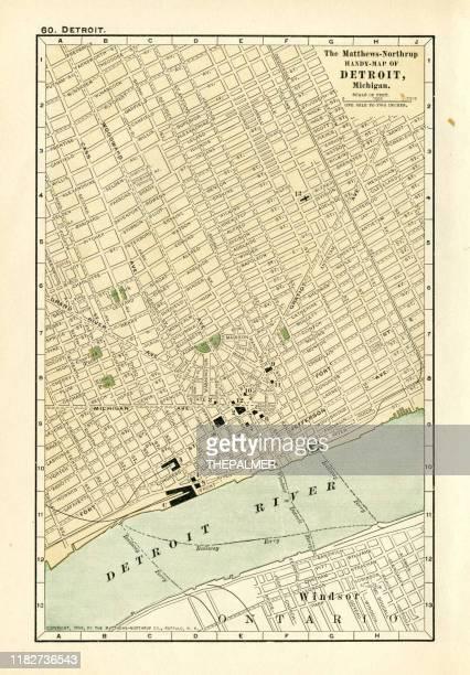 detroit map 1898 - detroit michigan stock illustrations