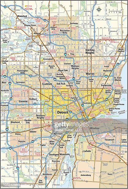 detroit, michigan area - detroit michigan map stock illustrations