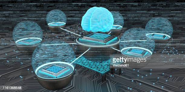 developent of the artificial intelligence, human brain with networked microchips, 3d illustration - panorama stock-grafiken, -clipart, -cartoons und -symbole