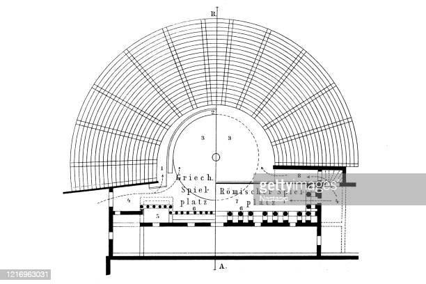 development of the roman theater from the greek - epidaurus stock illustrations