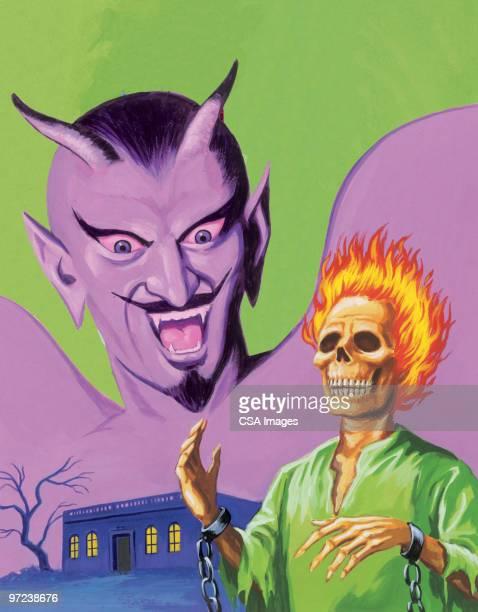 devil and flaming skull - zombie stock illustrations, clip art, cartoons, & icons