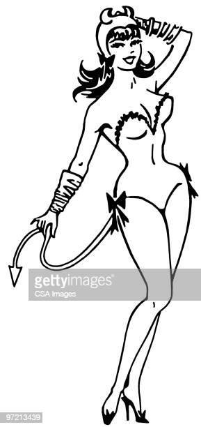 devil - hourglass stock illustrations