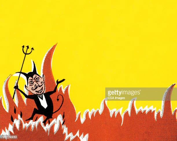 devil - hell stock illustrations