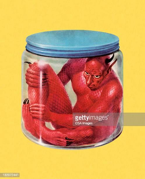 devil in jar - devil stock illustrations