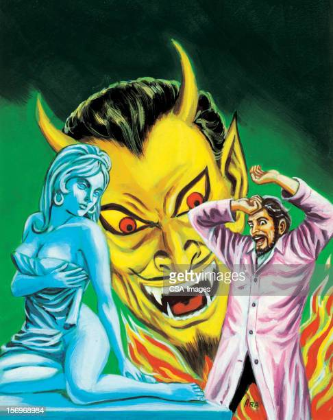 悪魔笑うの男性と女性。