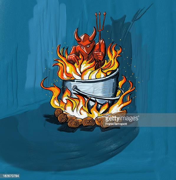 devil on fire - cauldron stock illustrations, clip art, cartoons, & icons