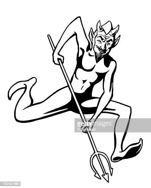 悪魔に走るピッチフォーク型 - 三叉槍点のイラスト素材/クリップアート素材/マンガ素材/アイコン素材