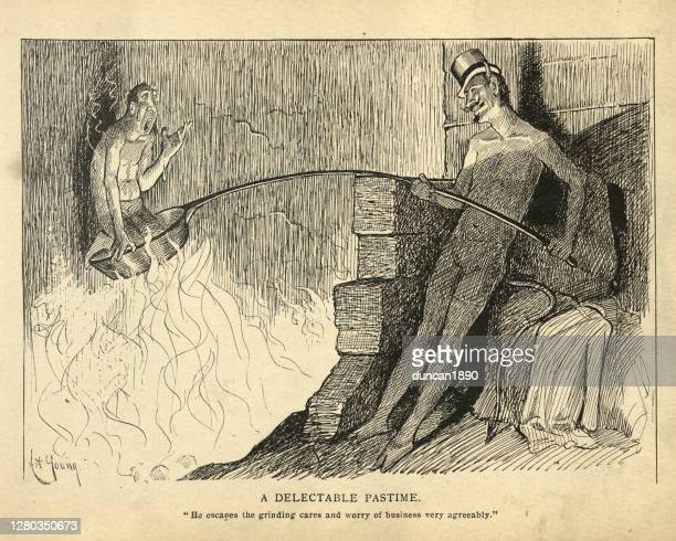 devil torturing a sinner in hell, roasting in frying pan - torture stock illustrations