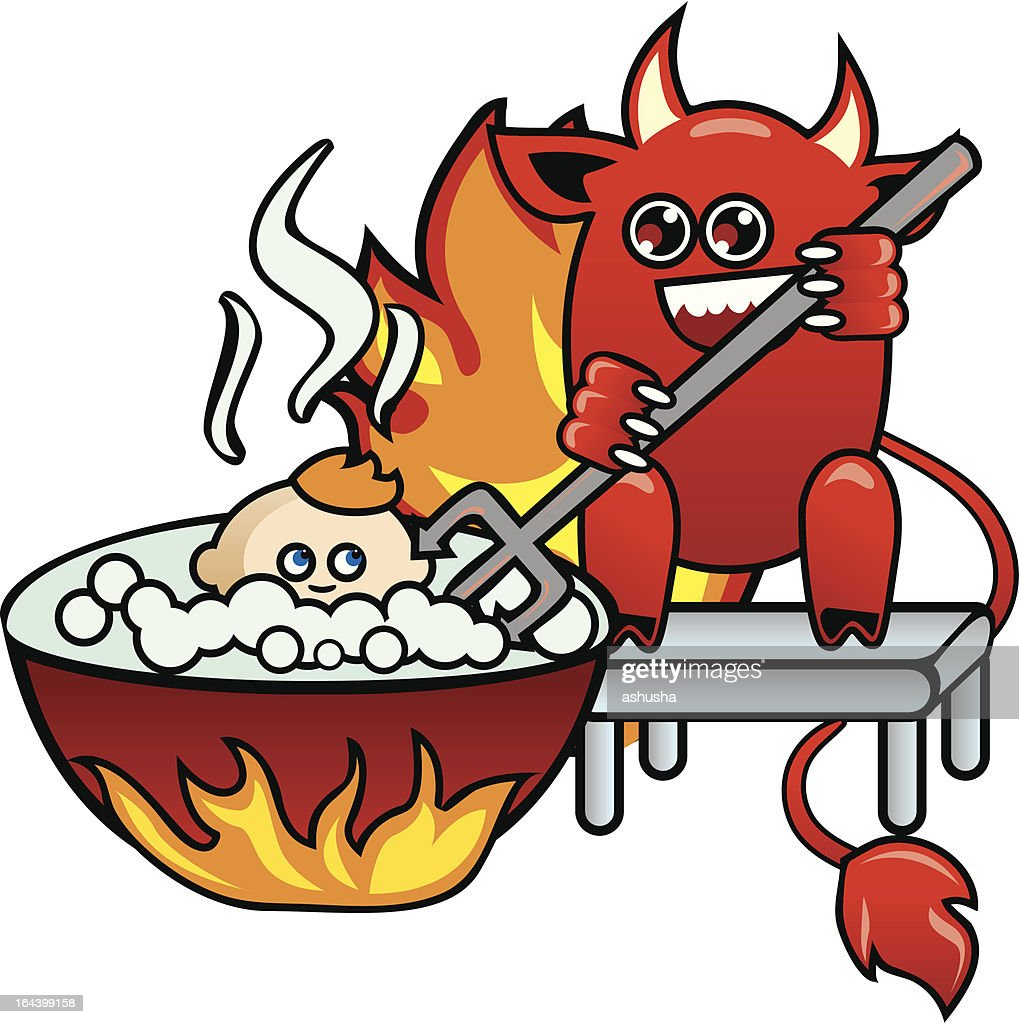 Devil with  pitchfork in a hand