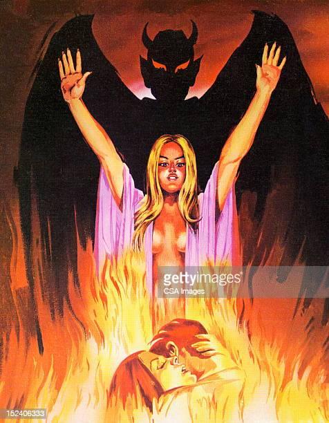 devil, woman and couple - seduction stock illustrations, clip art, cartoons, & icons
