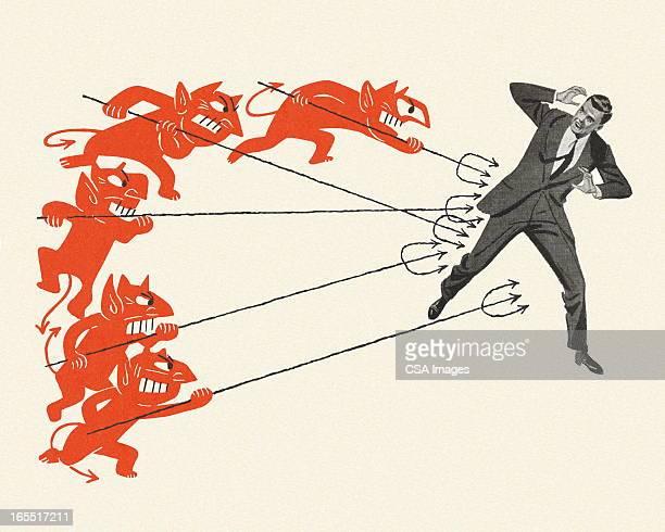 devils targeting a businessman - devil stock illustrations