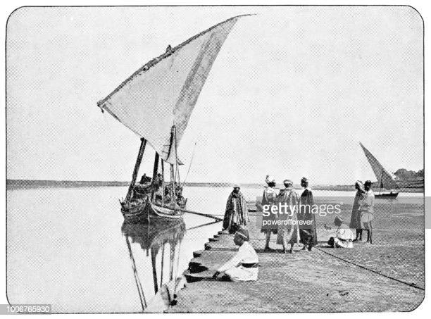 Dhow Docked along the Nile in Cairo, Egypt - Ottoman Empire