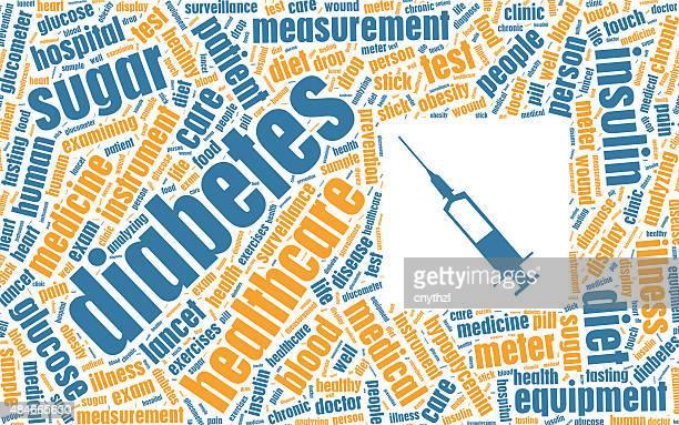 ilustraciones, imágenes clip art, dibujos animados e iconos de stock de diabetes concepto en tag cloud - diabetes