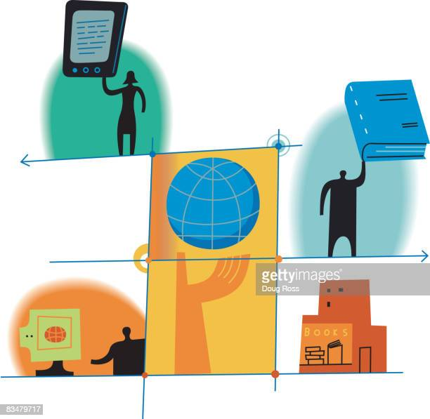 diagram depicting publishing in new media - publisher stock illustrations