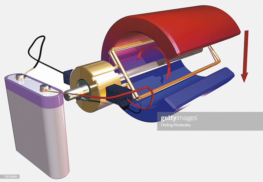 Diagram Of A Dc Electric Motor And Battery Stock Illustration