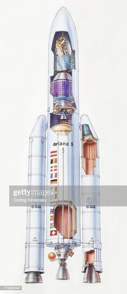 Diagram of Ariane 5 rocket, side view. : stock illustration