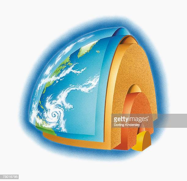 Diagram of the Earth's structure showing inner and outer core, mantle, crust and atmosphere, digital illustration.