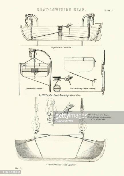 diagram of victorian ships lifeboat lowering gear - lifeboat stock illustrations