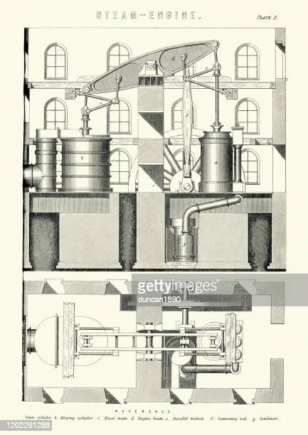 diagram of victorian steam engine, steam cylinder, blowing cylinder - manufacturing equipment stock illustrations