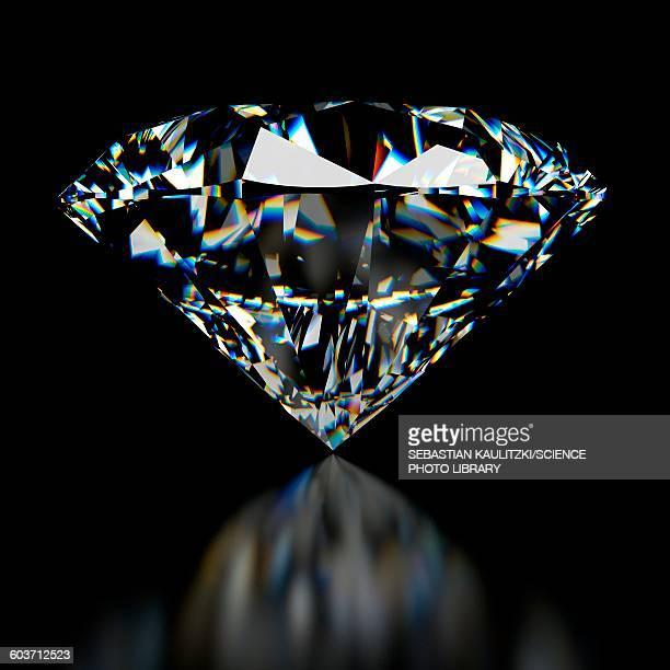diamond on black background, illustration - shiny stock illustrations