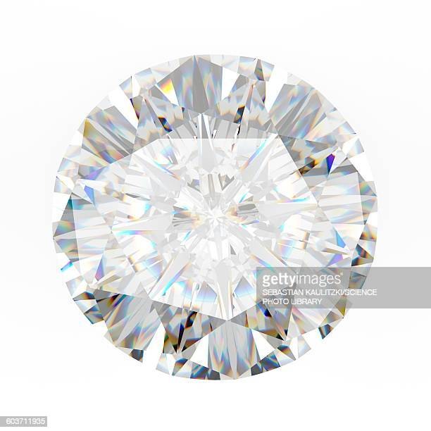 diamond on white background, illustration - stone object stock illustrations