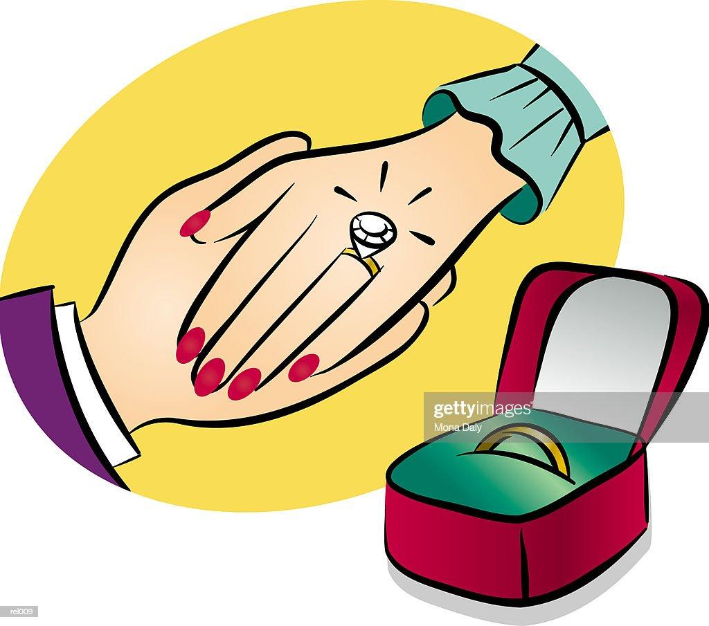 Diamond Ring & Wedding Band : Ilustração de stock