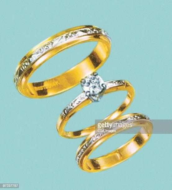 ilustraciones, imágenes clip art, dibujos animados e iconos de stock de diamond rings - anillo de compromiso