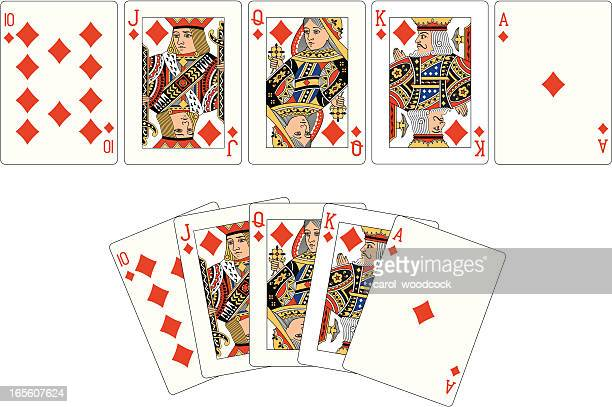 Diamond Suit Two Royal Flush playing cards