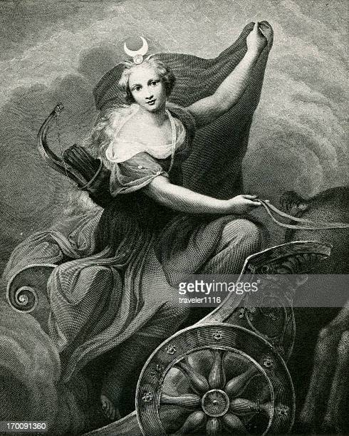 diana in a chariot - goddess stock illustrations, clip art, cartoons, & icons